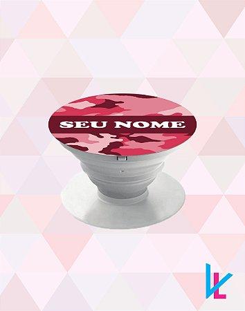 Pop Socket - Camuflada Rosa com nome