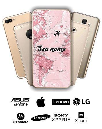 Capinha - Mapa mundi rosa com nome