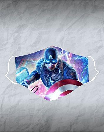 Máscara de Tecido Poliéster Personalizada Lavável Reutilizável - Capitão América 2