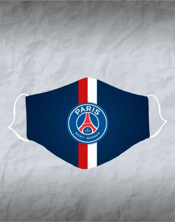 Máscara de Tecido Poliéster Personalizada Lavável Reutilizável - Paris Saint Germain