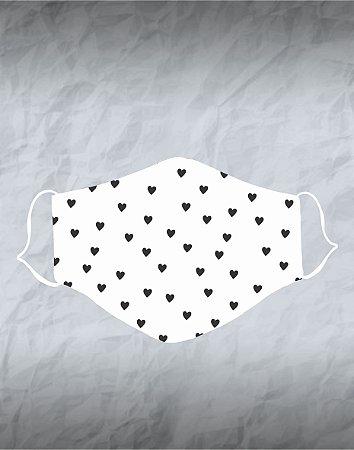 Máscara de Tecido Poliéster Personalizada Lavável Reutilizável - Corações Preto