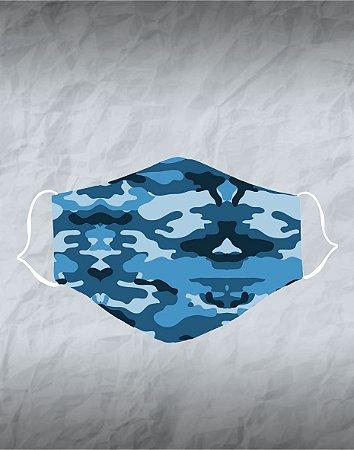 Máscara de Tecido Poliéster Personalizada Lavável Reutilizável - Camuflada Azul