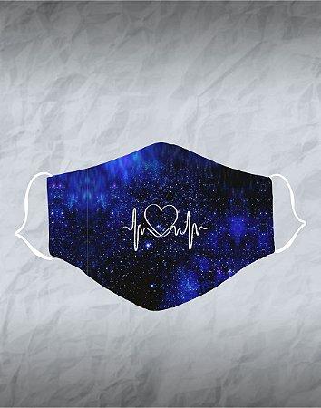 Máscara de Tecido Poliéster Personalizada Lavável Reutilizável - Coração Cardio