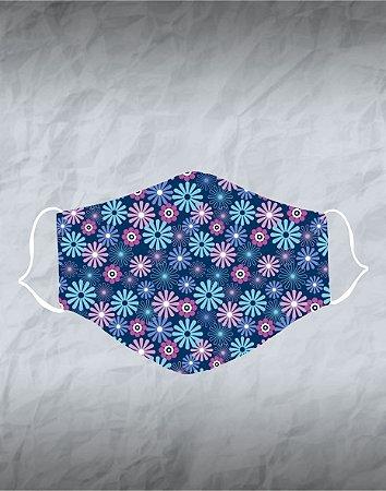 Máscara de Tecido Poliéster Personalizada Lavável Reutilizável - Flores Azuis