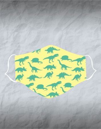 Máscara de Tecido Poliéster Personalizada Lavável Reutilizável - Dinossauros