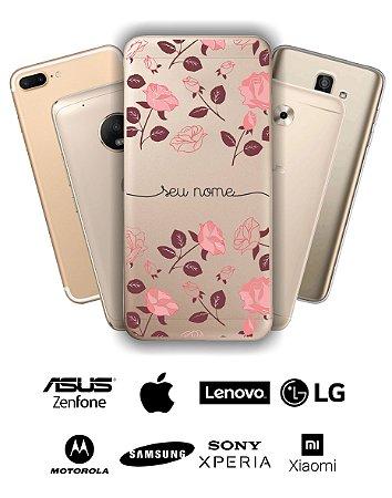 Capinha - Flores roxas e rose com nome