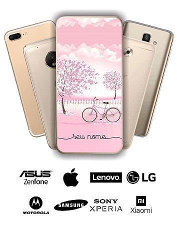 Capinha - Bicicleta rosa com nome