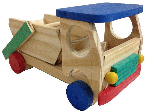 Caminhão Entulho de brinquedo em madeira