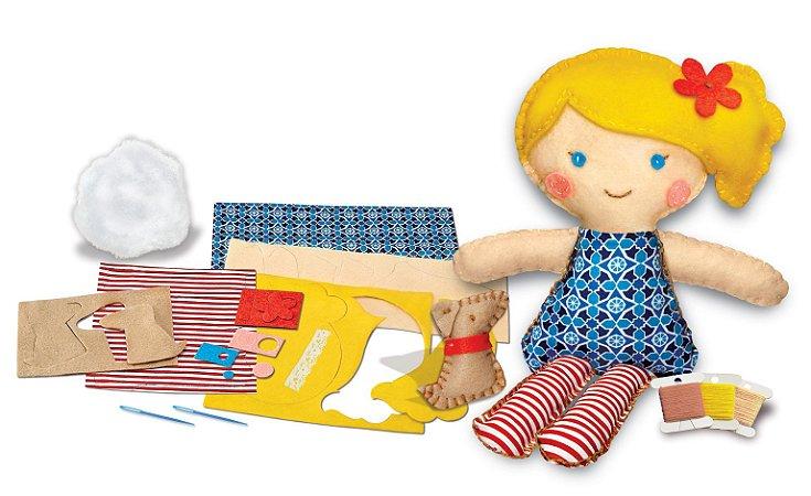 Costure uma boneca e um Cachorrinho de estimação - Boneca para Costurar