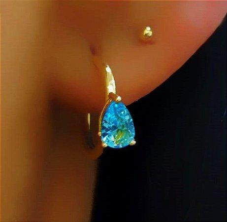 Brinco Mini Argola 1.0 cm Gota Zircônia Azul Banhado em Ouro18k