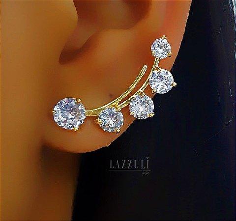 Brinco Ear Cuff Vários Pontos de Luz Banhado em Ouro18k