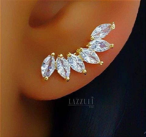 Brinco Ear Cuff com 6 Zircônias Navetes Cristal Banhado em Ouro18k
