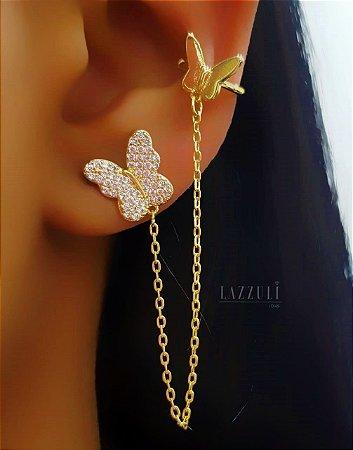 Brinco Ear Cuff Borboleta Banhado em Ouro18k (SKU: 00032087)