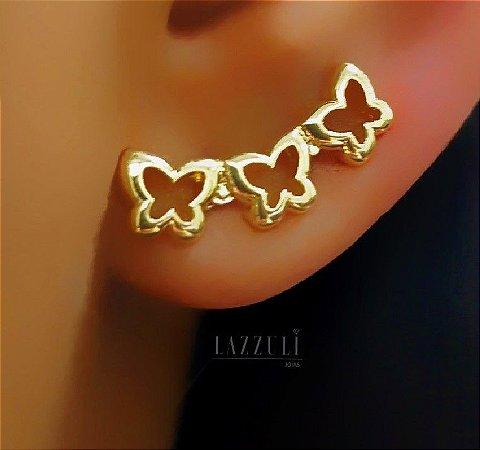 Brinco Ear Cuff Borboletas Lisas Banhado em Ouro18k