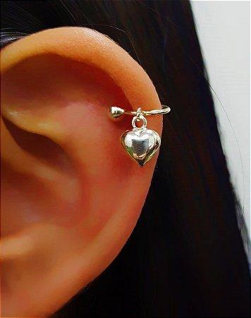 Piercing Fake Coração Liso Gordinho Prata 925