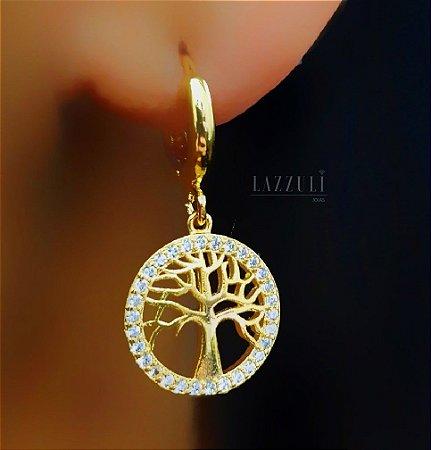 Brinco Argola Árvore da Vida Banhado em Ouro18k (SKU: 00032136)