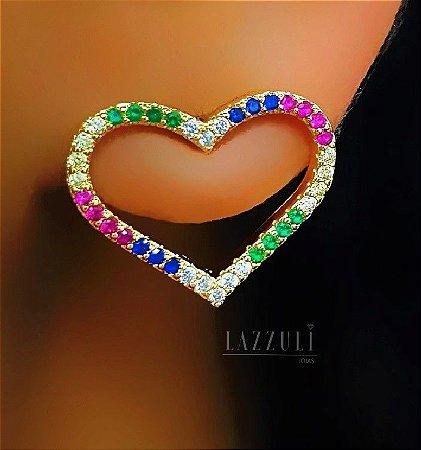 Brinco Coração Vazado com Micro Zircônias Colorida Banhado em Ouro18k (SKU: 00032142)