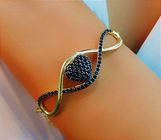 Pulseira Coração Luxury Zircônia Negra Banhado em Ouro18k (SKU: 00090540)