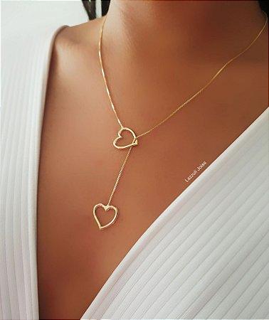 Colar Réplica Gravatinha Coração Banhado em Ouro18k