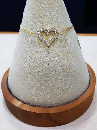 Pulseira Coração Micro Zircônias Banhada em Ouro18k