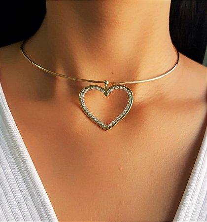 Choker Aro com Pingente de Coração com Micro Zircônias Cravejado Banhado em Ouro18k