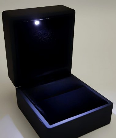 Porta Anel com LED de Acrílico Fosco Emburrachado Black