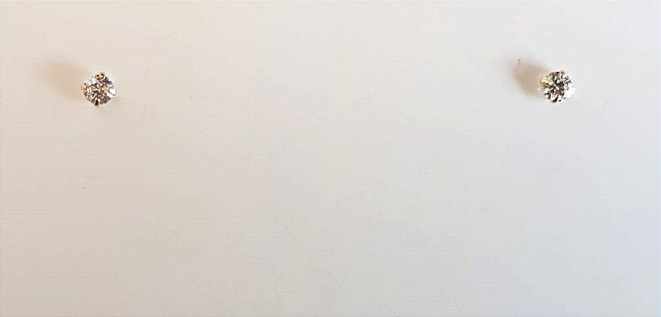 Brinco Ponto de Luz Redondo 0.3cm com Zircônias Banhado em Ouro18k