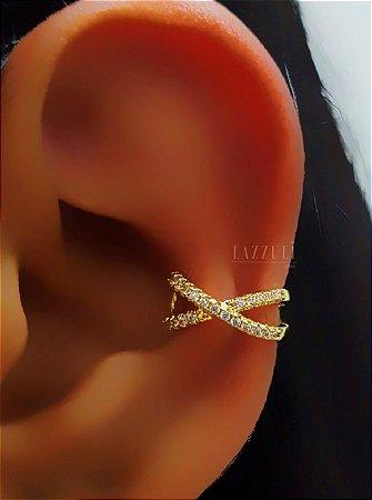 Piercing Fake em X com Micro Zircônias Banhado em Ouro18k