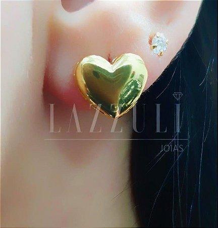 Brinco Coração Liso Banhado em Ouro18k