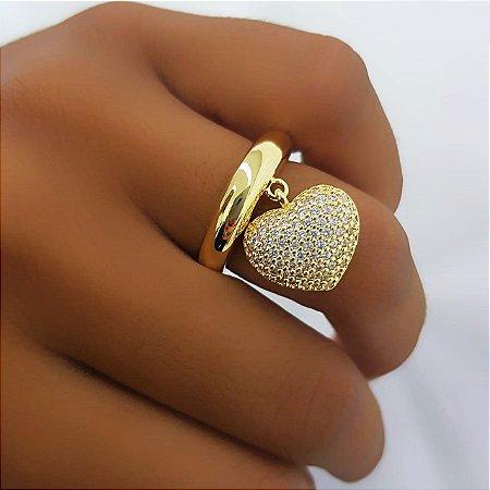 Anel Pingente Coração Micro Zircônias Banhado em Ouro18k