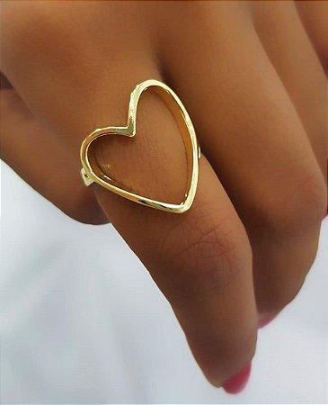 Anel Coração Liso Banhado em Ouro18k