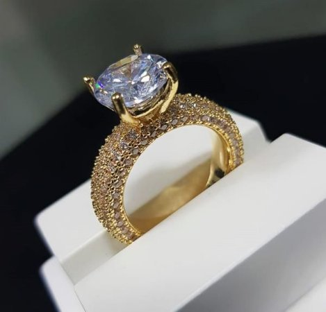 4c4c33d24 Anel Solitário Luxury Banhado em Ouro18k - Lazzuli Joias | Semijoias ...