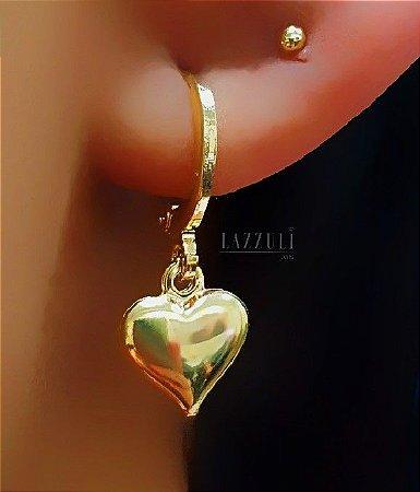 Argola Pêndulo Coração Liso Banhado em Ouro 18k