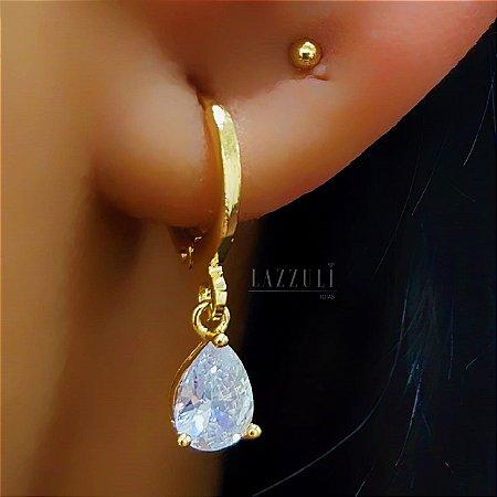 Brinco Argola com Gota Zircônia Cristal Banhado em Ouro18k