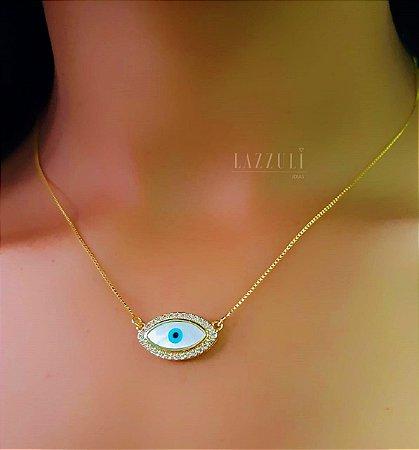 Colar Olho Grego 2.0 cm com Madrepérola e com Micro Zircônia Banhado em Ouro18k