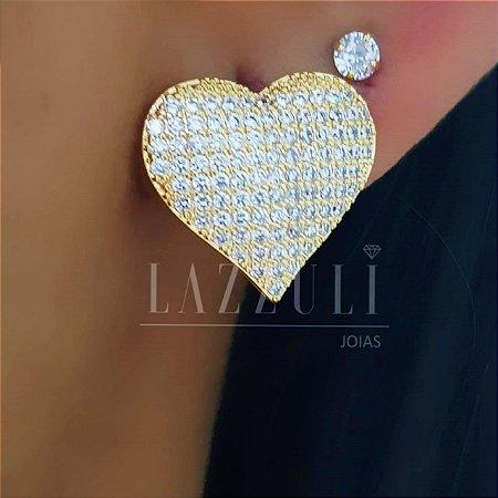 Brinco Coração Sophia com Micro Zircônias Banhado em Ouro18k