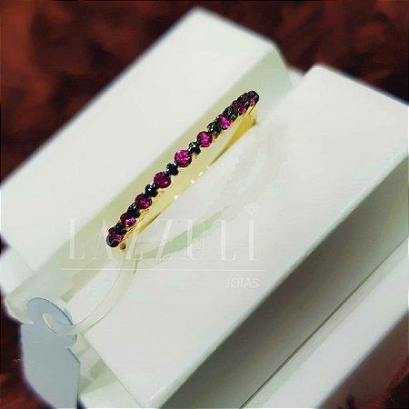 Anel Meia Aliança com Micro Zircônias Rosa Banhado em Ouro18k