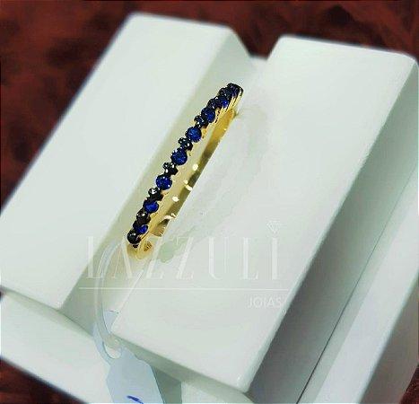 Anel Meia Aliança com Micro Zircônias Azul Banhado em Ouro18k