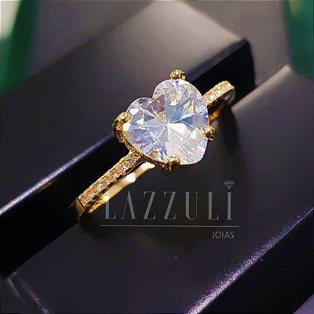 Anel Solitário Coração com Zircônia Cristal e Micro Zircônias Banhado em Ouro18k