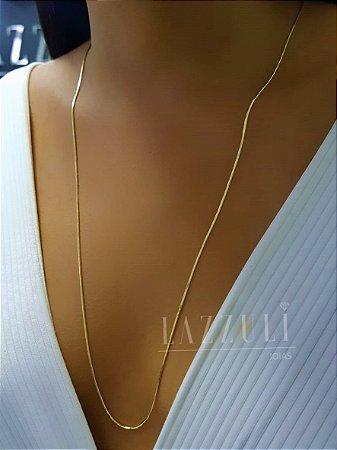 Colar Longo 60cm Liso Laminado Banhado em Ouro18k