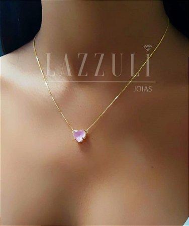 Colar Coração PP Cristal Rosa Leitoso Banhado em Ouro 18k