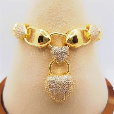 Pulseira Luxury com Elos de Coração Liso e Cravejado Banhado me Ouro18k