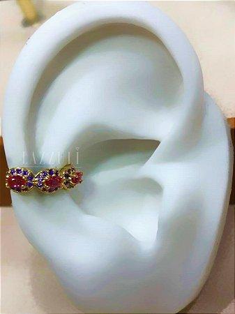 Piercing Fake Colorido com Micro Zircônias Ametista e Zircônia Rubi Banhado em Ouro18k