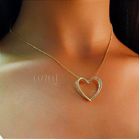 Colar Coração Vazado com Micro Zircônias Coloridas Banhado em Ouro18k