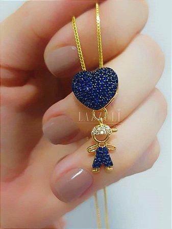 Colar Filhos com Micro Zircônias Azul Banhado em Ouro18k