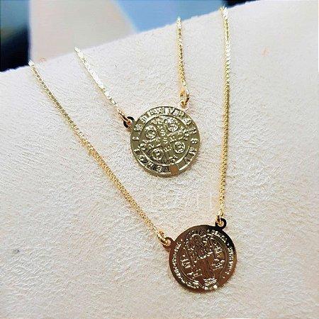 Escapulário Medalha São Bento Liso Banhado em Ouro18k
