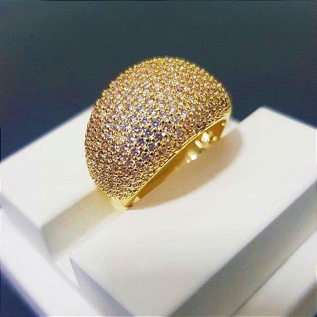 Anel Abaulado Luxury com Micro Zircônias Banhado em Ouro18k