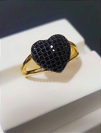 Anel Solitário Coração com Zircônia Negra Banhado em Ouro18k