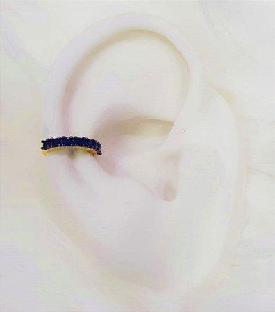 Piercing Fake 1 Fileira Micro Zircônia Negra Banhado em Ouro18k