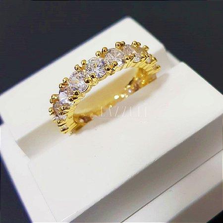 Anel Aparador Zircônia Oval Cristal Banhado em Ouro18k